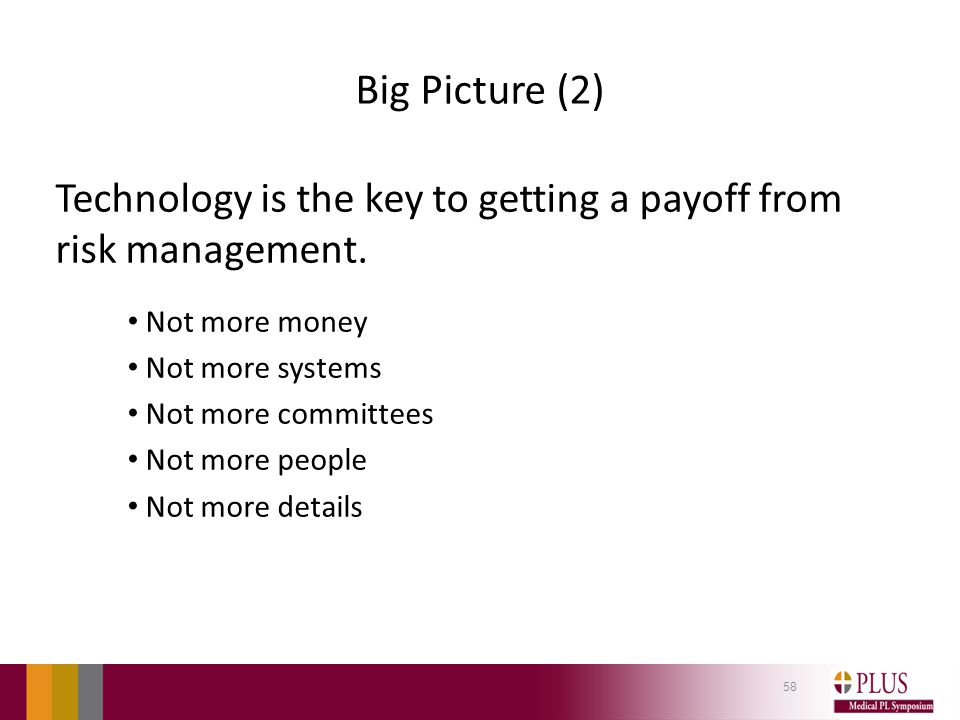 Big Picture (2) Technology is the key to getting a payoff from risk management.