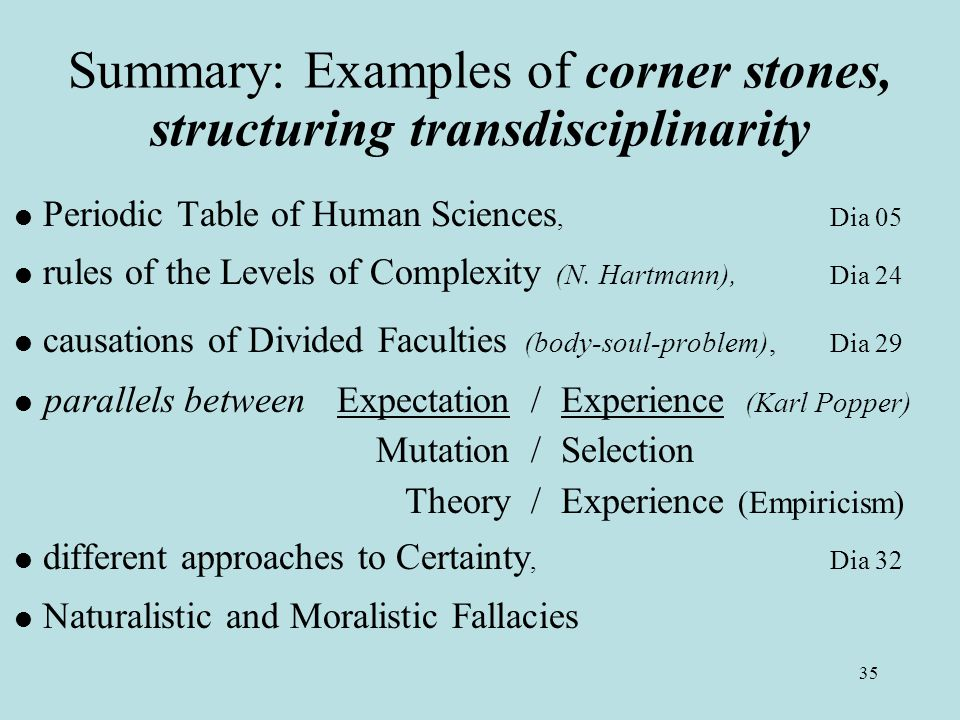 35 Summary: Examples of corner stones, structuring transdisciplinarity  Periodic Table of Human Sciences, Dia 05  rules of the Levels of Complexity (N.