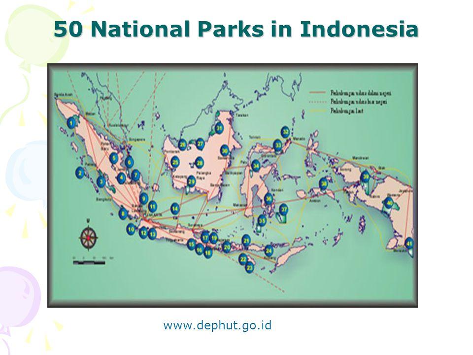 50 National Parks in Indonesia www.dephut.go.id