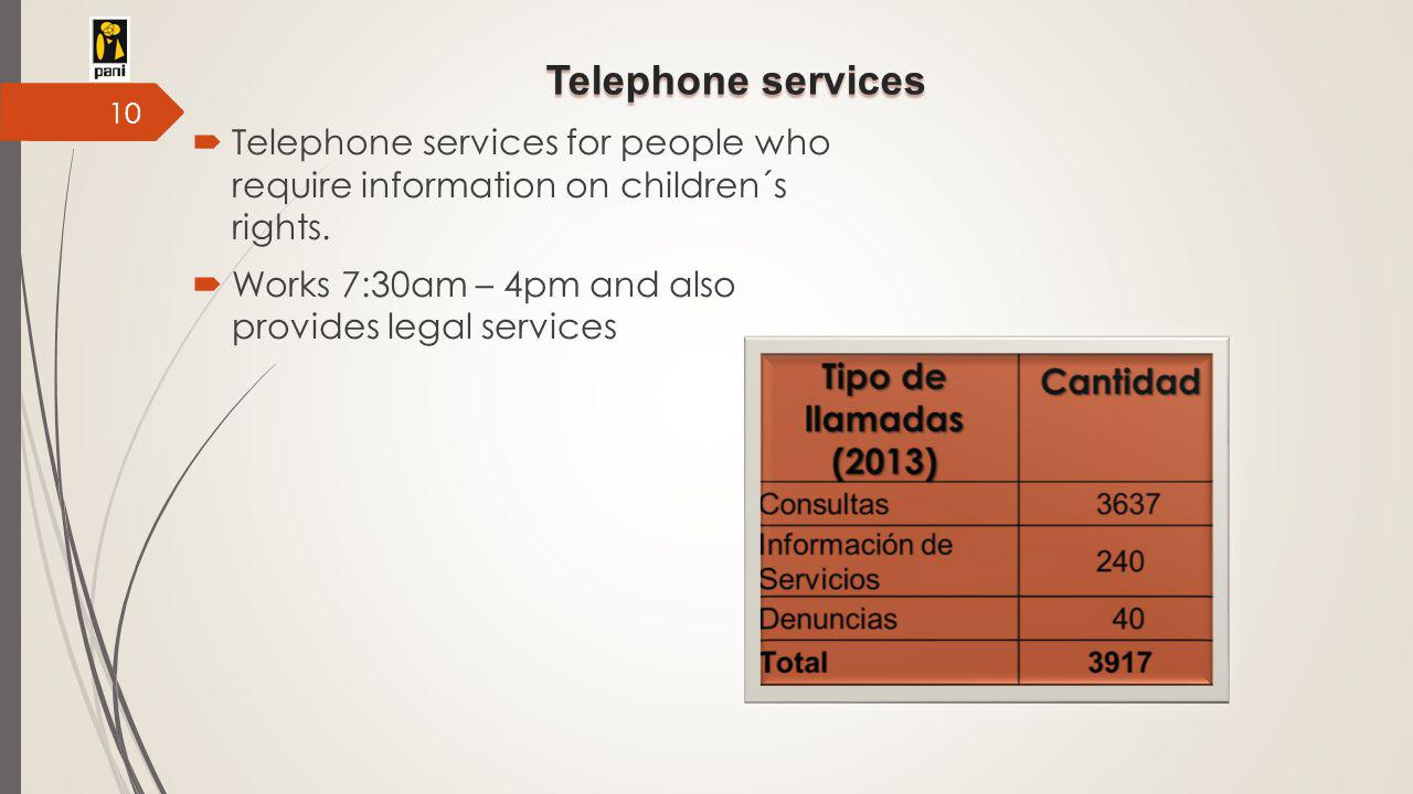 Telephone services  Telephone services for people who require information on children´s rights.