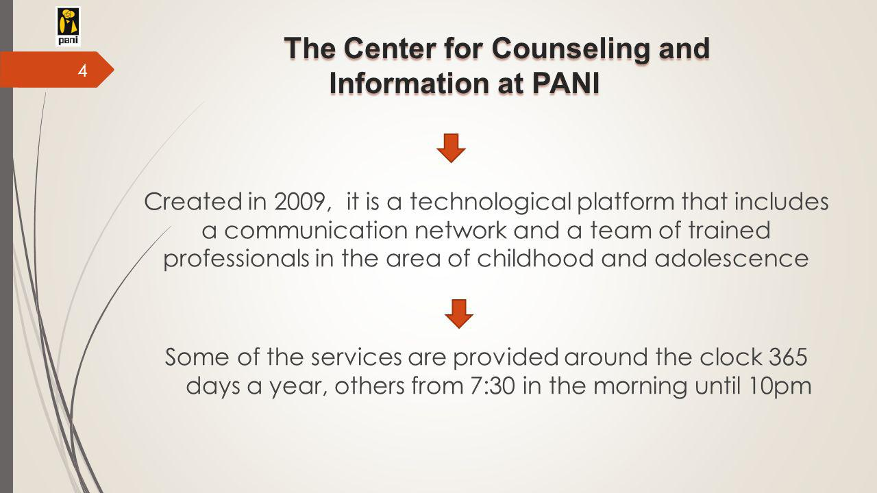 The Center for Counseling and Information at PANI Created in 2009, it is a technological platform that includes a communication network and a team of trained professionals in the area of childhood and adolescence Some of the services are provided around the clock 365 days a year, others from 7:30 in the morning until 10pm 4