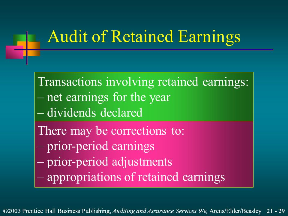 ©2003 Prentice Hall Business Publishing, Auditing and Assurance Services 9/e, Arens/Elder/Beasley Audit of Retained Earnings Transactions involving retained earnings: – net earnings for the year – dividends declared There may be corrections to: – prior-period earnings – prior-period adjustments – appropriations of retained earnings