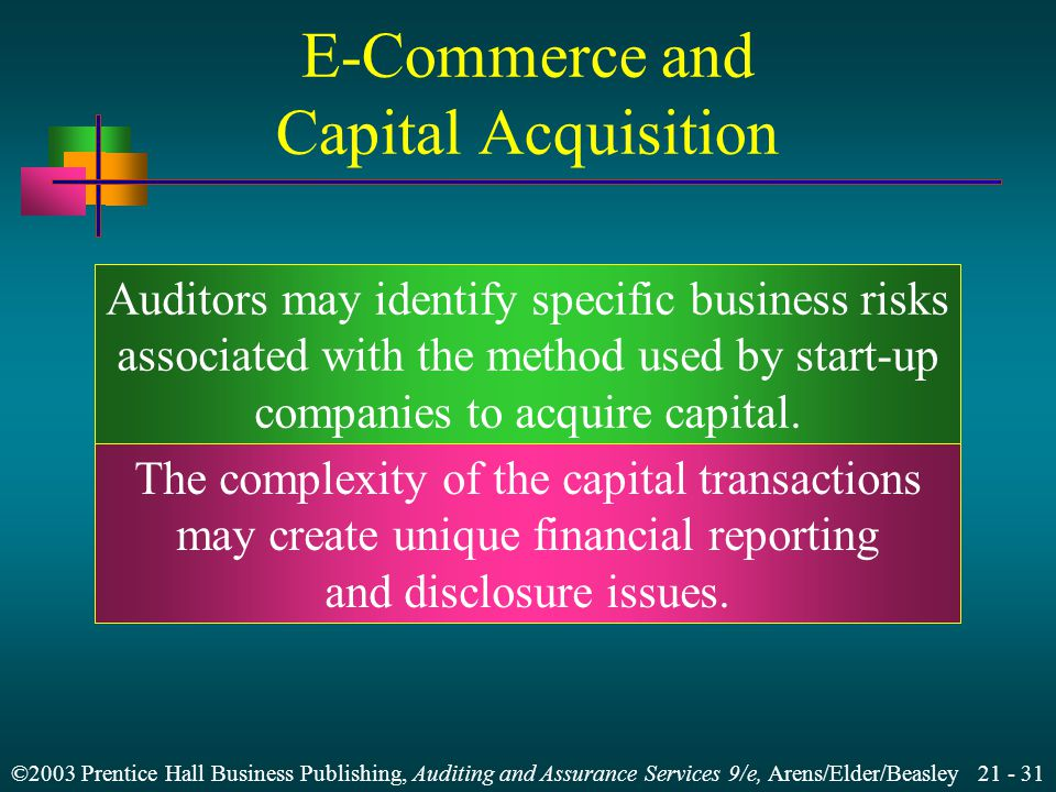 ©2003 Prentice Hall Business Publishing, Auditing and Assurance Services 9/e, Arens/Elder/Beasley Auditors may identify specific business risks associated with the method used by start-up companies to acquire capital.