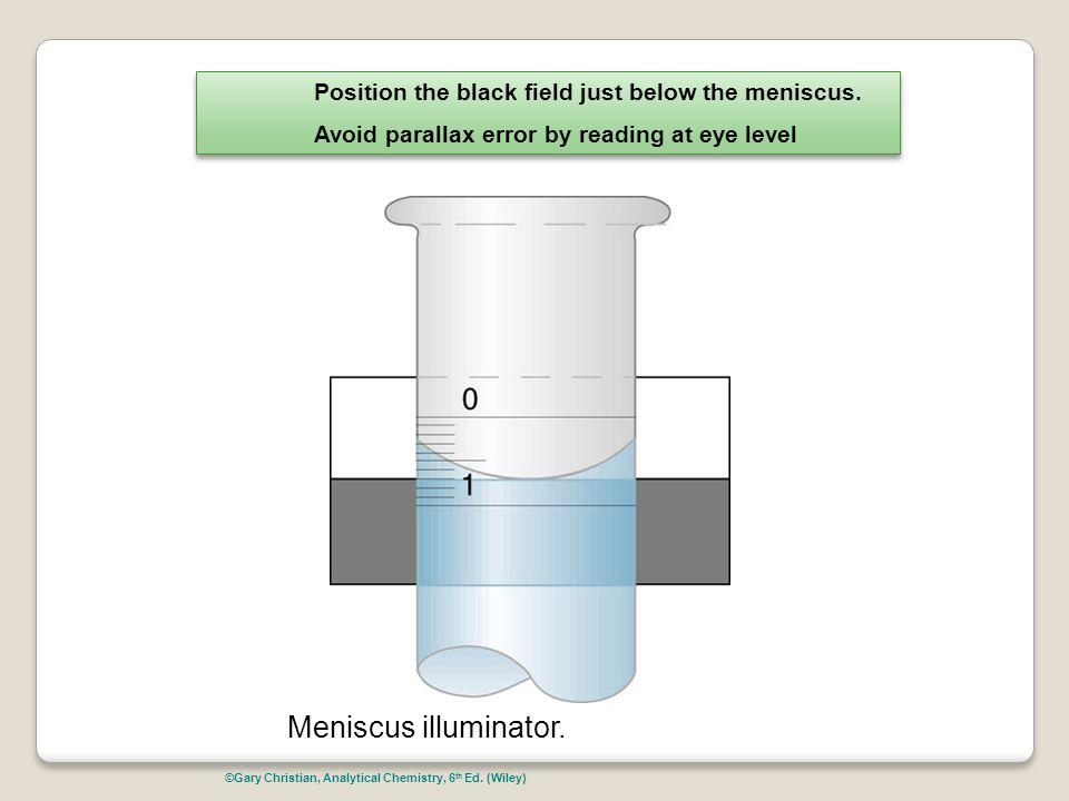 Meniscus illuminator. Position the black field just below the meniscus. Avoid parallax error by reading at eye level Position the black field just bel
