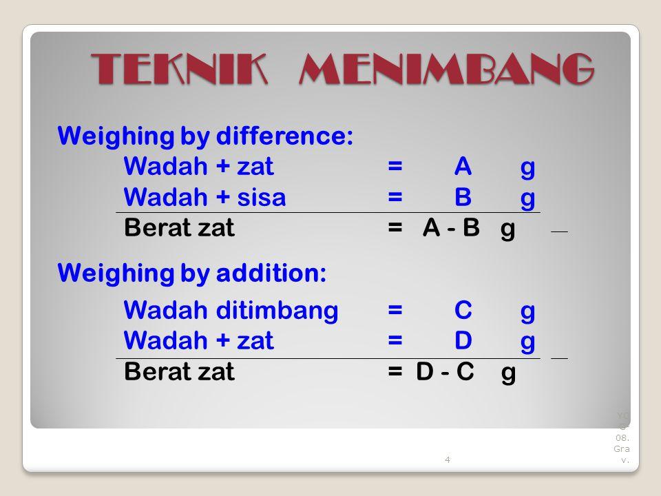 4 YO G- 08. Gra v. TEKNIK MENIMBANG Weighing by difference: Wadah + zat=A g Wadah + sisa= B g Berat zat= A - B g Weighing by addition: Wadah ditimbang