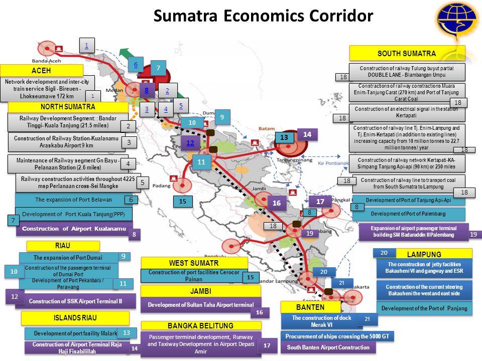 Sumatra Economics Corridor 1 1 Network development and inter-city train service Sigli - Bireuen - Lhokseumawe 172 km 1 1 2 2 3 3 4 4 5 5 6 6 8 8 9 9 C