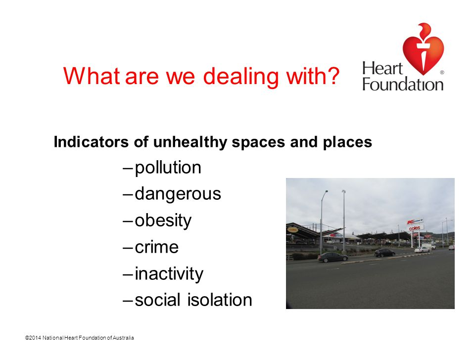 ©2014 National Heart Foundation of Australia The built environment vision for 2025