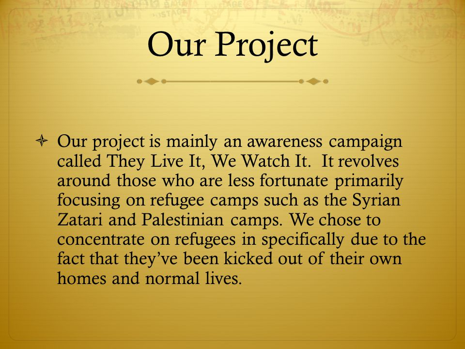 Our Project  Our project is mainly an awareness campaign called They Live It, We Watch It.