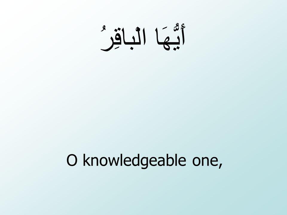 O knowledgeable one, أَيُّهَا الْباقِرُ