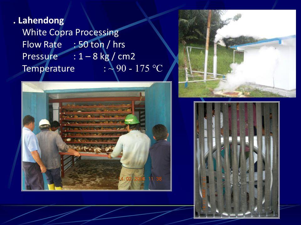 . Lahendong White Copra Processing Flow Rate: 50 ton / hrs Pressure: 1 – 8 kg / cm2 Temperature: ~ 90 - 175 °C