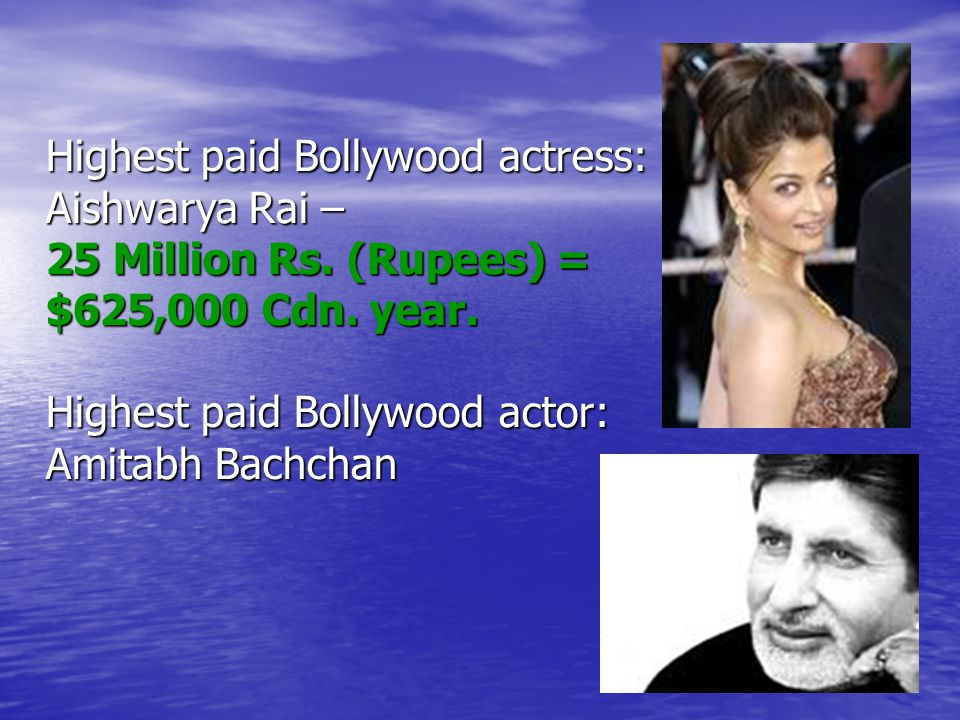 Highest paid Bollywood actress: Aishwarya Rai – 25 Million Rs.