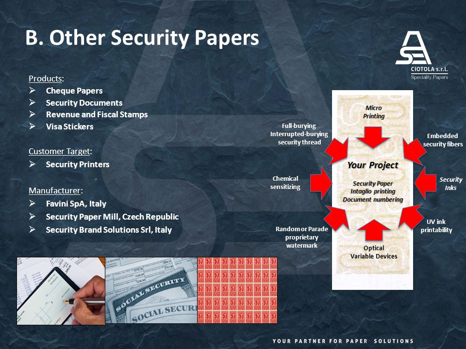 B. Other Security Papers Products:  Cheque Papers  Security Documents  Revenue and Fiscal Stamps  Visa Stickers Customer Target:  Security Printe