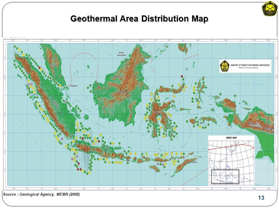 Geothermal Area Distribution Map 13 Source : Geological Agency, MEMR (2008)