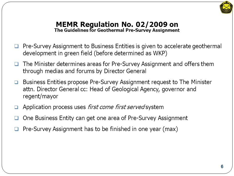 MEMR Regulation No.05/2009 * on The Guidelines for Electricity Purchasing Price by PT.