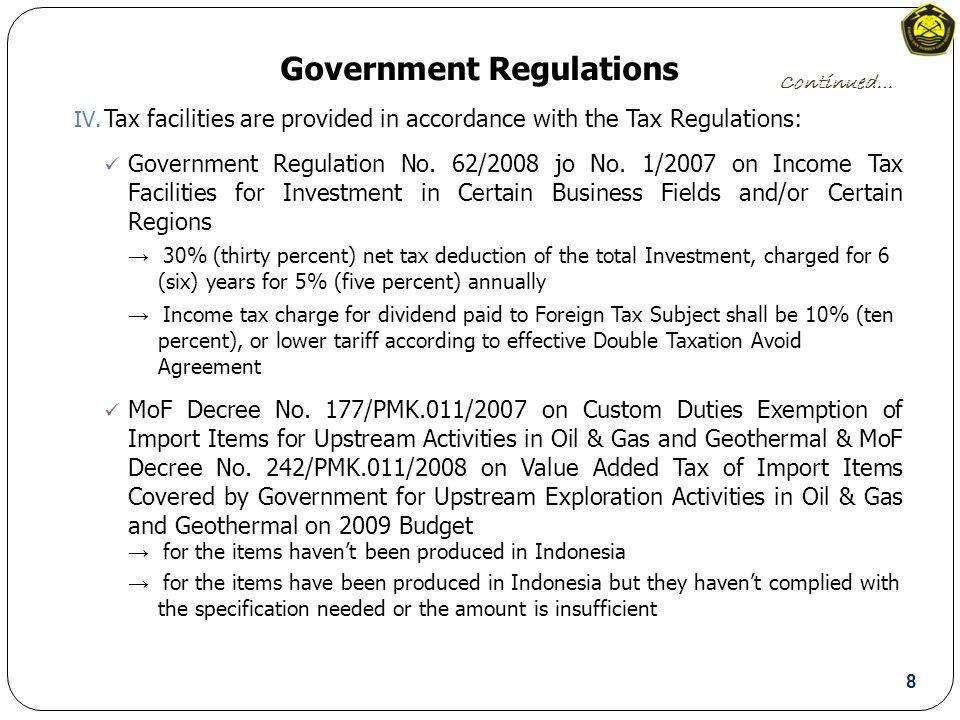 Government Regulations IV.