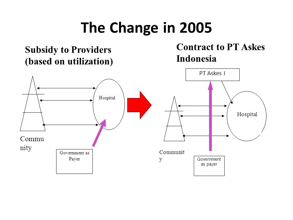 The Change in 2005 Government as Payer Hospital Commu nity Government as payer Hospital Communit y PT Askes I Subsidy to Providers (based on utilization) Contract to PT Askes Indonesia