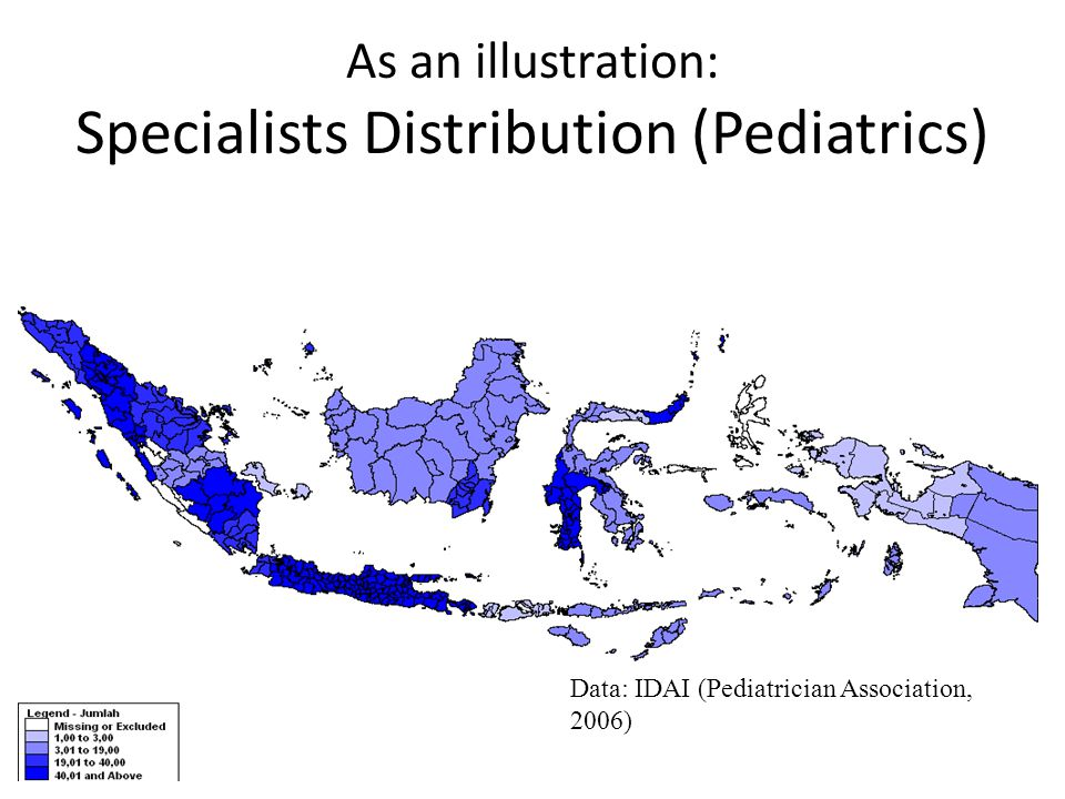 As an illustration: Specialists Distribution (Pediatrics) Data: IDAI (Pediatrician Association, 2006)