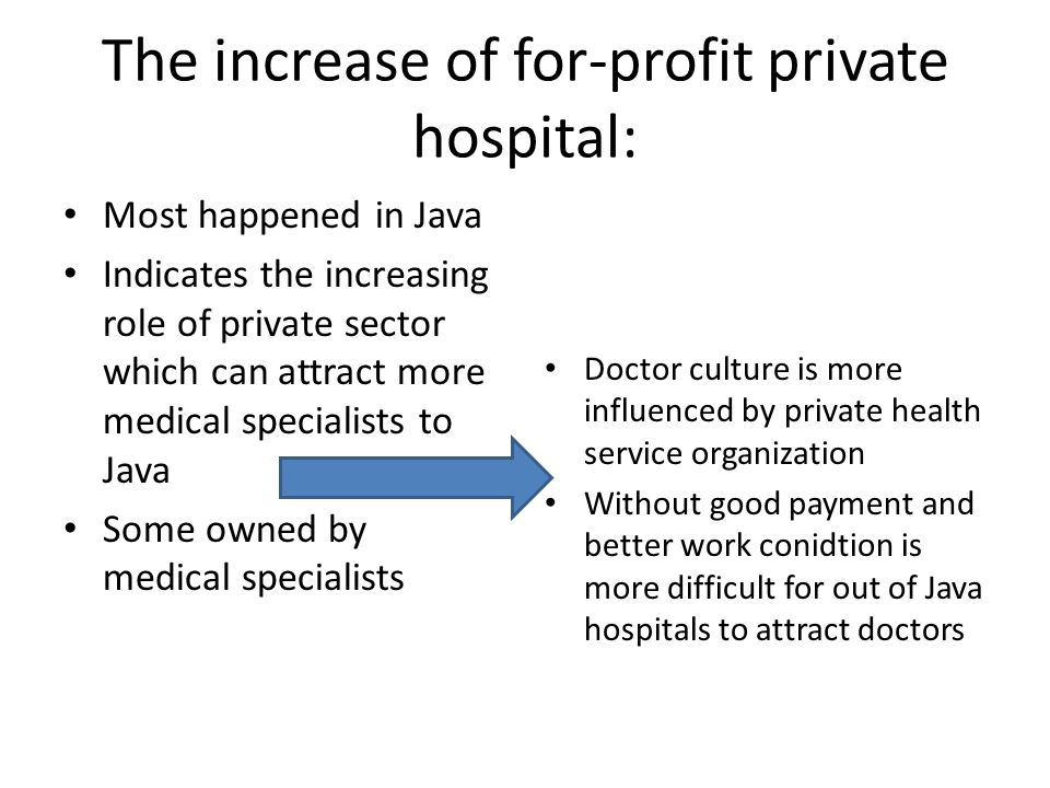 The increase of for-profit private hospital: Most happened in Java Indicates the increasing role of private sector which can attract more medical specialists to Java Some owned by medical specialists Doctor culture is more influenced by private health service organization Without good payment and better work conidtion is more difficult for out of Java hospitals to attract doctors