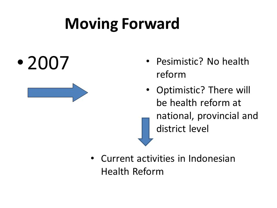 Moving Forward 2007 Pesimistic.No health reform Optimistic.