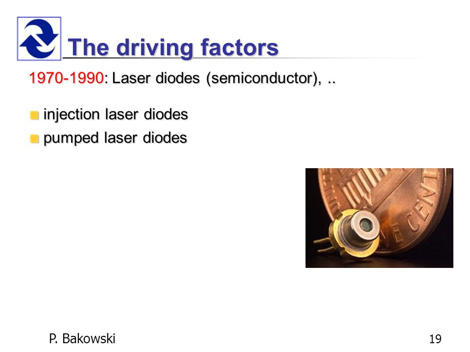 P. Bakowski 19 The driving factors 1970-1990:Laser diodes (semiconductor),..