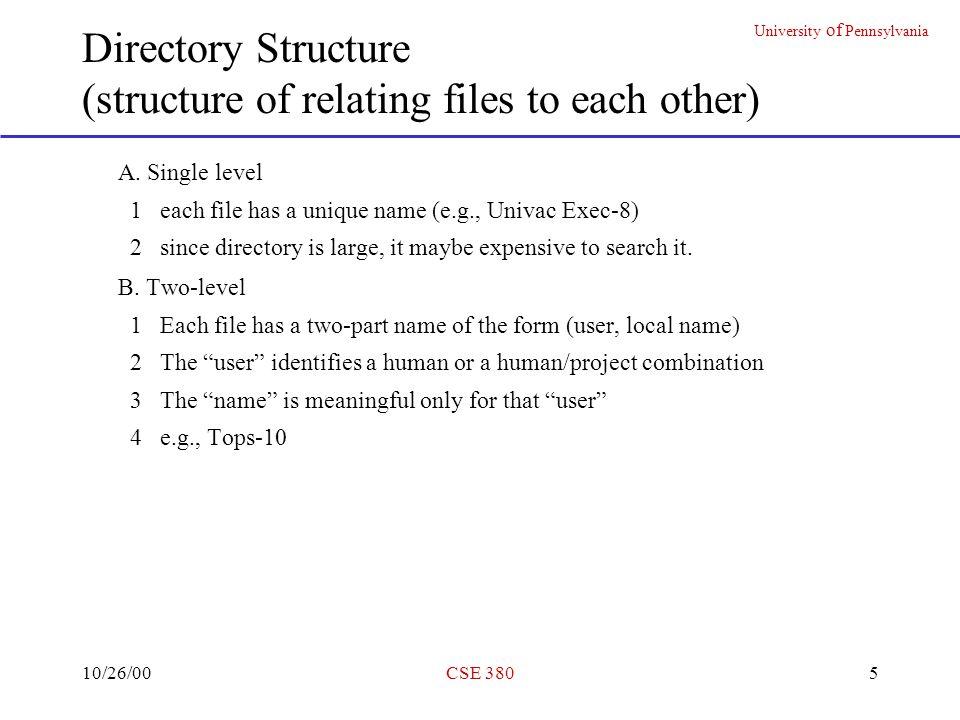 University of Pennsylvania 10/26/00CSE 38016 Unix File System (3) Synch done every 30 secs.