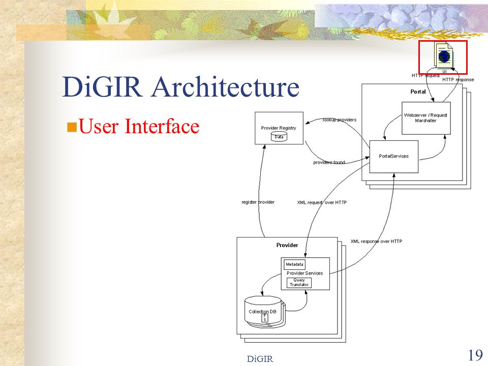DiGIR 19 DiGIR Architecture User Interface