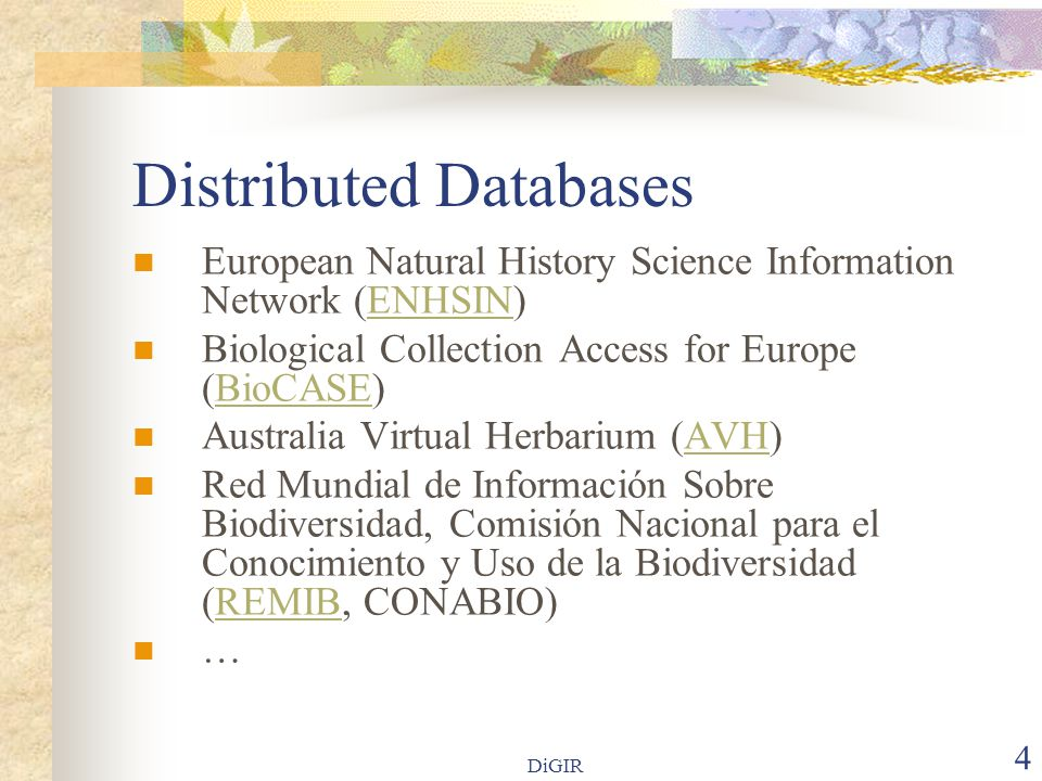 DiGIR 4 Distributed Databases European Natural History Science Information Network (ENHSIN)ENHSIN Biological Collection Access for Europe (BioCASE)Bio