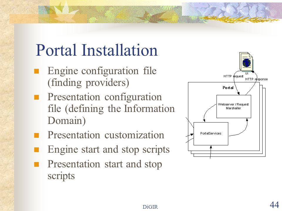 44 Portal Installation Engine configuration file (finding providers) Presentation configuration file (defining the Information Domain) Presentation customization Engine start and stop scripts Presentation start and stop scripts