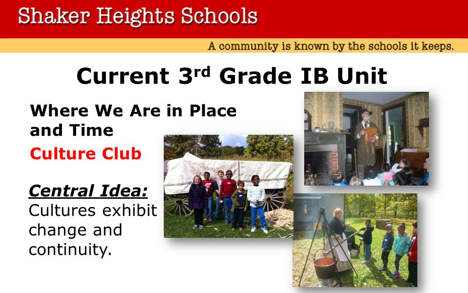 Current 3 rd Grade IB Unit Where We Are in Place and Time Culture Club Central Idea: Cultures exhibit change and continuity.