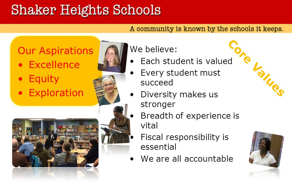 Our Aspirations Excellence Equity Exploration We believe: Each student is valued Every student must succeed Diversity makes us stronger Breadth of experience is vital Fiscal responsibility is essential We are all accountable Core Values
