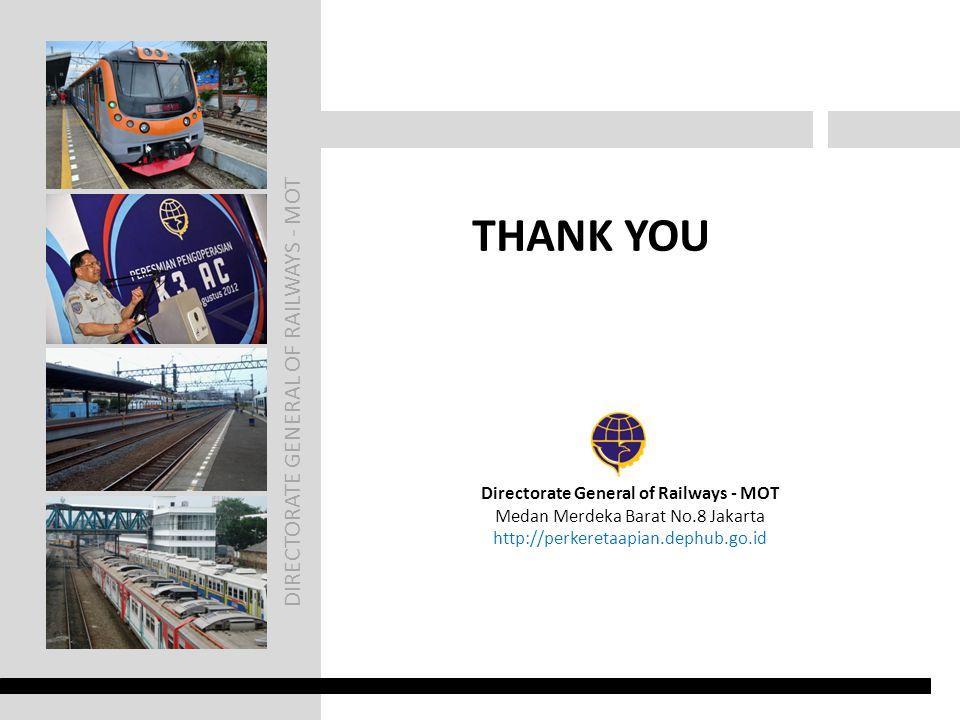 DIRECTORATE GENERAL OF RAILWAYS - MOT THANK YOU Directorate General of Railways - MOT Medan Merdeka Barat No.8 Jakarta http://perkeretaapian.dephub.go.id
