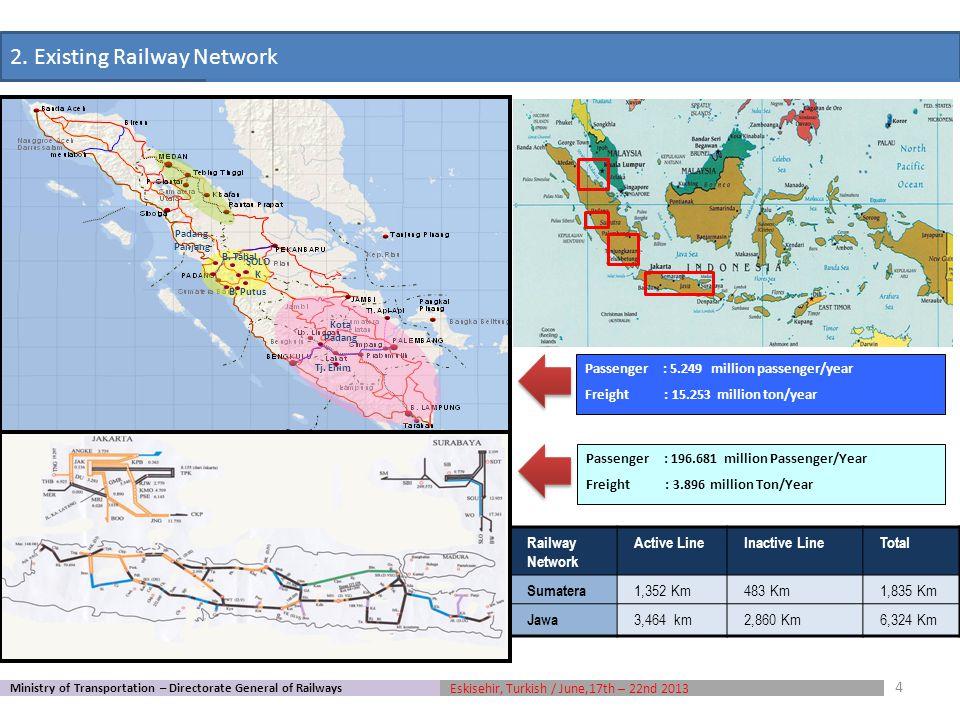 a.12.100 Km National Railways Network on 2030 (Jawa-Bali Island, Sumatera, Kalimantan, Sulawesi and Papua) including 3.800 km urban railways network.