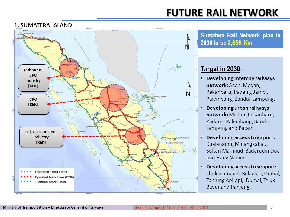 CPO [KEK] CPO [KEK] Rubber & CPO Industry [KEK] Rubber & CPO Industry [KEK] Oil, Gas and Coal Industry [KEK] Oil, Gas and Coal Industry [KEK] Target in 2030: Developing intercity railways network: Aceh, Medan, Pekanbaru, Padang, Jambi, Palembang, Bandar Lampung.
