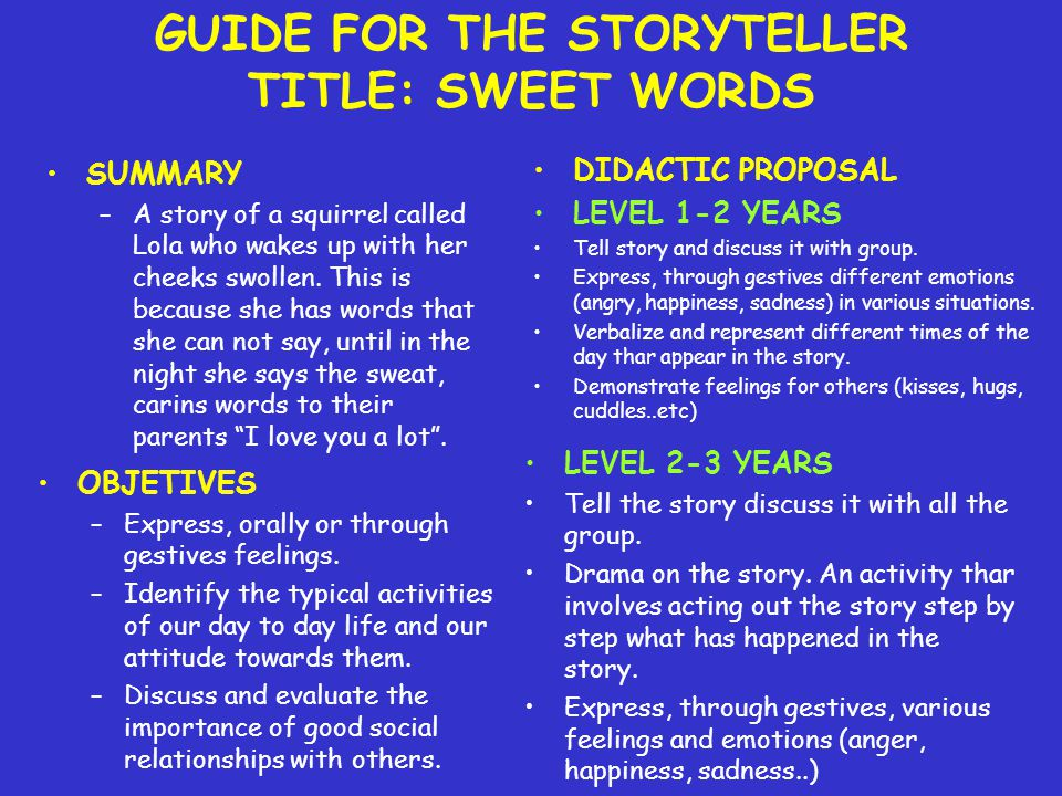 GUIDE FOR THE STORYTELLER TITLE: SWEET WORDS SUMMARY –A story of a squirrel called Lola who wakes up with her cheeks swollen.