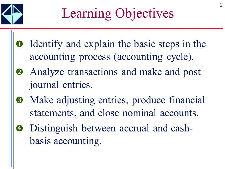 2 Learning Objectives  Identify and explain the basic steps in the accounting process (accounting cycle).  Analyze transactions and make and post jo