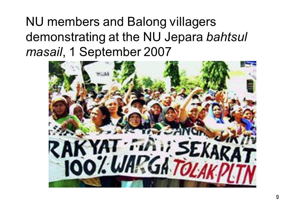 9 NU members and Balong villagers demonstrating at the NU Jepara bahtsul masail, 1 September 2007
