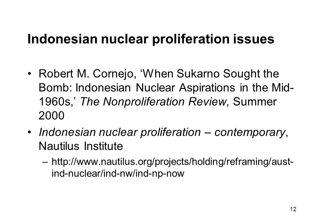 12 Indonesian nuclear proliferation issues Robert M.