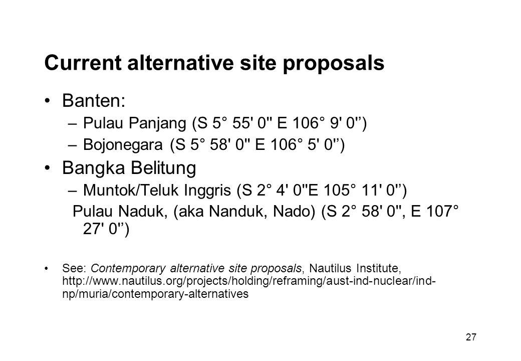 27 Current alternative site proposals Banten: –Pulau Panjang (S 5° 55 0 E 106° 9 0 ') –Bojonegara (S 5° 58 0 E 106° 5 0 ') Bangka Belitung –Muntok/Teluk Inggris (S 2° 4 0 E 105° 11 0 ') Pulau Naduk, (aka Nanduk, Nado) (S 2° 58 0 , E 107° 27 0 ') See: Contemporary alternative site proposals, Nautilus Institute, http://www.nautilus.org/projects/holding/reframing/aust-ind-nuclear/ind- np/muria/contemporary-alternatives