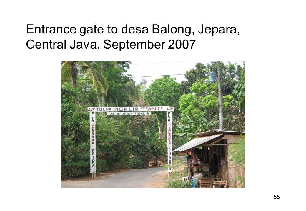 55 Entrance gate to desa Balong, Jepara, Central Java, September 2007