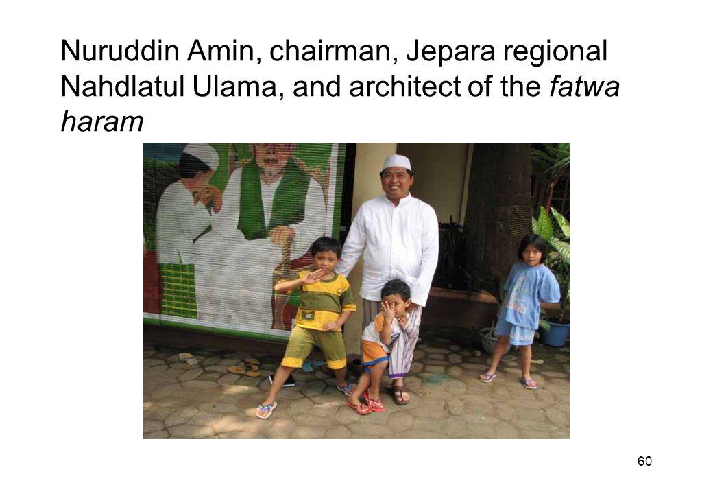 60 Nuruddin Amin, chairman, Jepara regional Nahdlatul Ulama, and architect of the fatwa haram