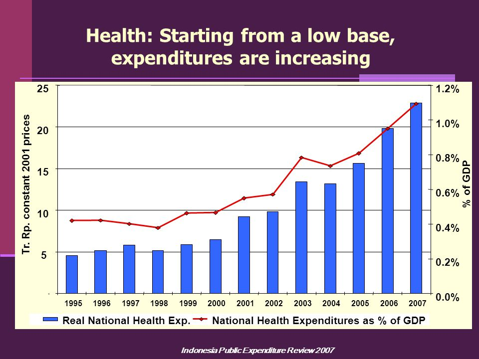 Indonesia Public Expenditure Review 2007 Health: Starting from a low base, expenditures are increasing - 5 10 15 20 25 1995199619971998199920002001200