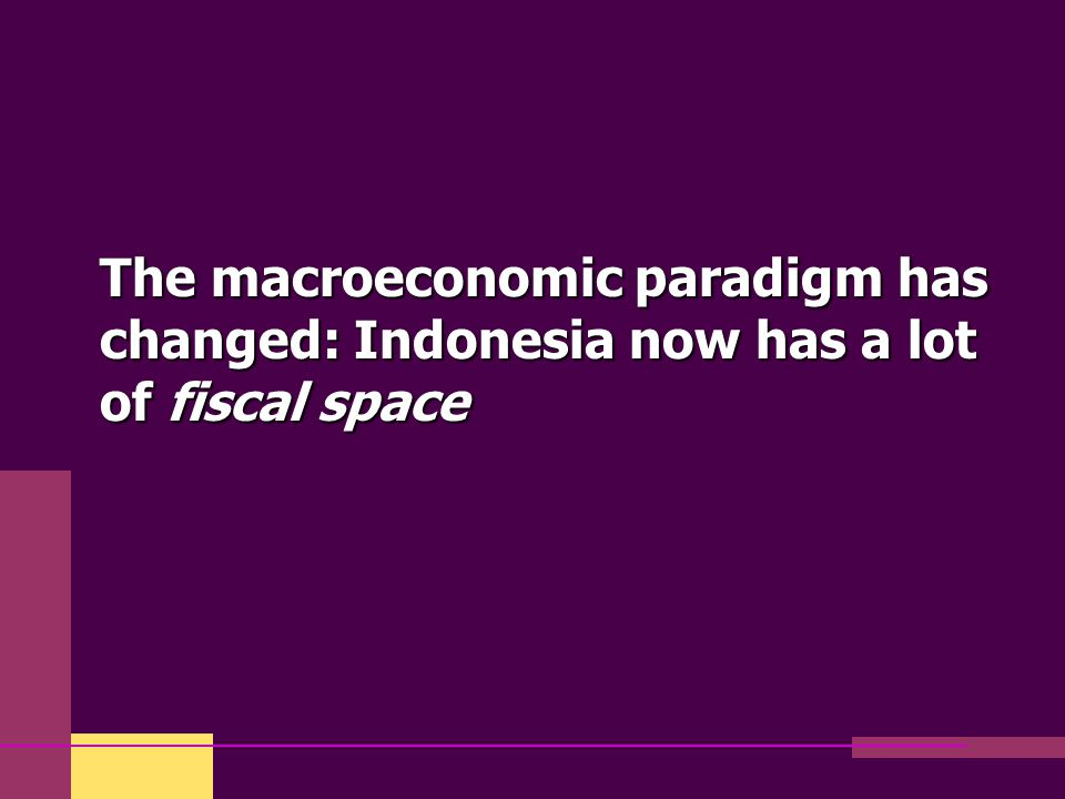 The macroeconomic paradigm has changed: Indonesia now has a lot of fiscal space
