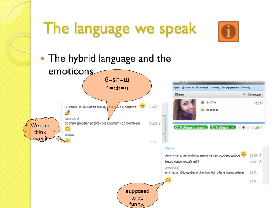 The language we speak The hybrid language and the emoticons 6=sh=ш 4=ch=ч supposed to be funny.. We can think over it