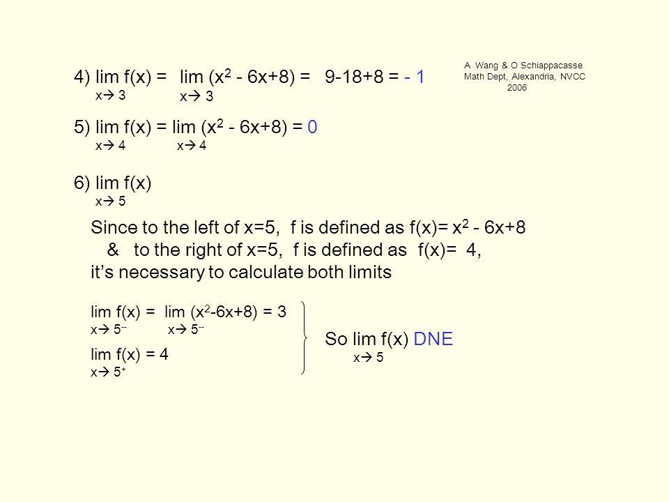 4) lim f(x) =. x  3 6) lim f(x). x  5 5) lim f(x) = lim (x 2 - 6x+8) = 0.