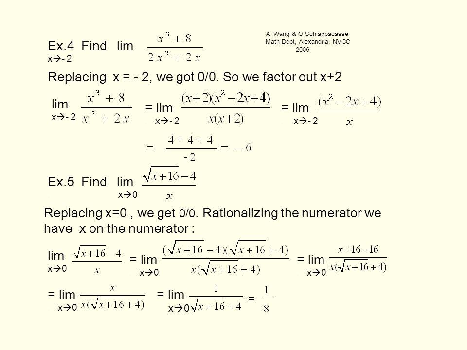 Ex.4 Find lim. x  - 2 Replacing x = - 2, we got 0/0.