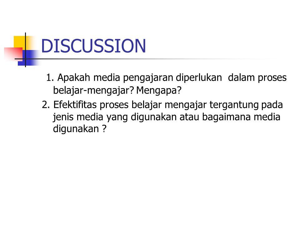 DISCUSSION 1. Apakah media pengajaran diperlukan dalam proses belajar-mengajar.