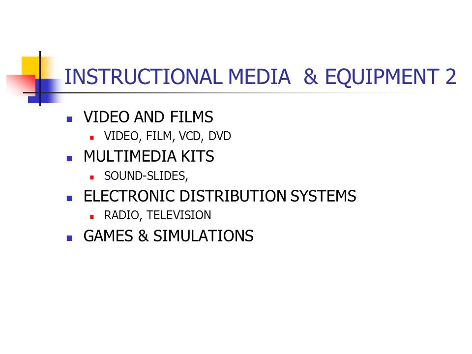 INSTRUCTIONAL MEDIA & EQUIPMENT 2 VIDEO AND FILMS VIDEO, FILM, VCD, DVD MULTIMEDIA KITS SOUND-SLIDES, ELECTRONIC DISTRIBUTION SYSTEMS RADIO, TELEVISION GAMES & SIMULATIONS