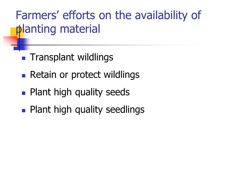 Transplant wildlings Retain or protect wildlings Plant high quality seeds Plant high quality seedlings Farmers' efforts on the availability of planting material