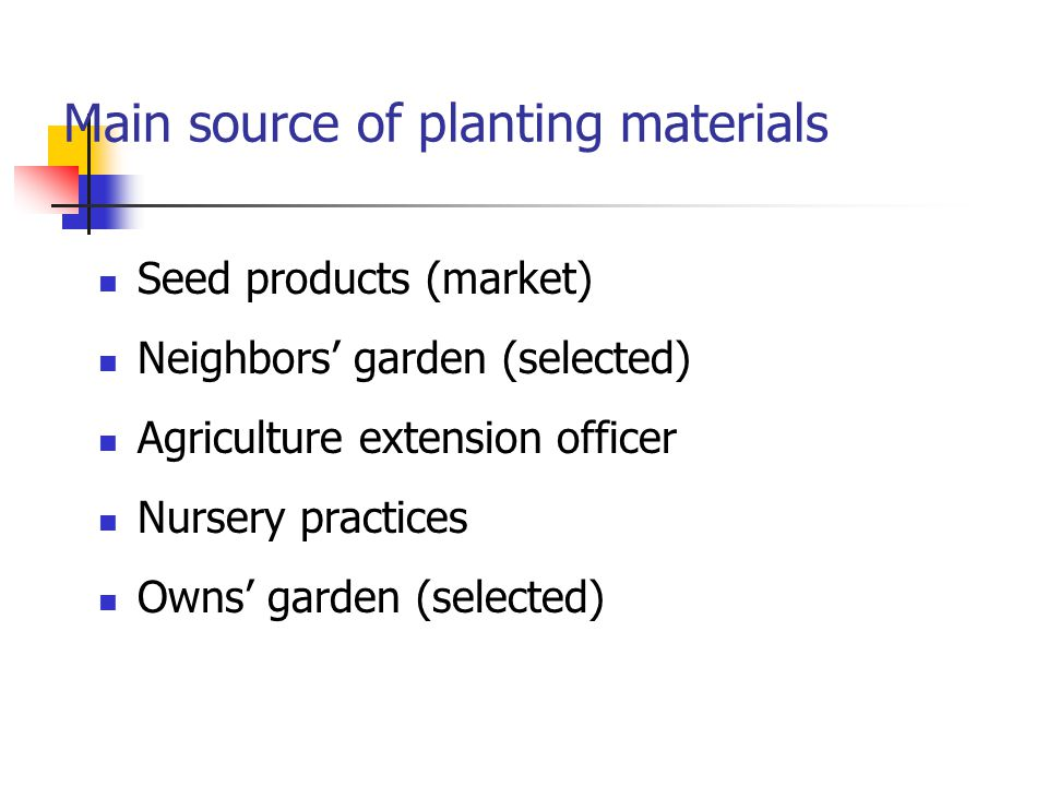 Main source of planting materials Seed products (market) Neighbors' garden (selected) Agriculture extension officer Nursery practices Owns' garden (se
