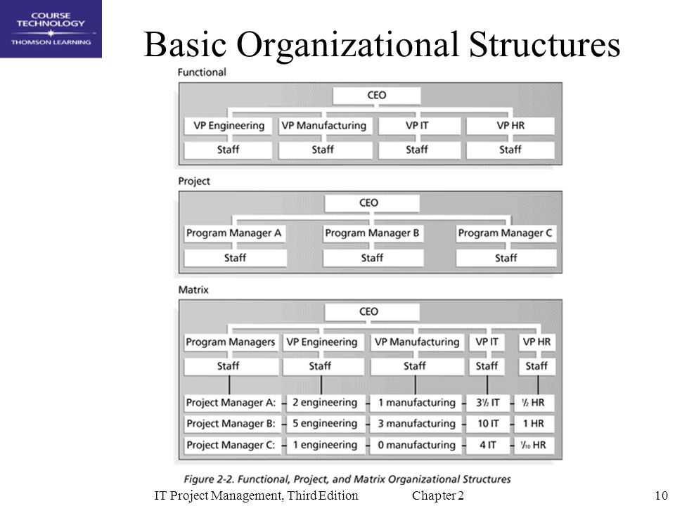 10IT Project Management, Third Edition Chapter 2 Basic Organizational Structures